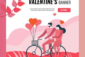 Valentine Banner Template Stock Images