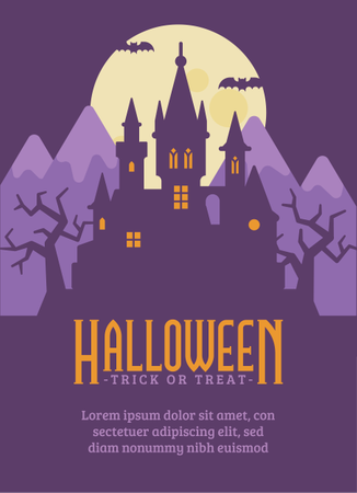 Vampire Castle Halloween Flyer Illustration