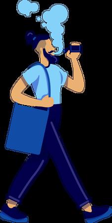 Vaping man Illustration