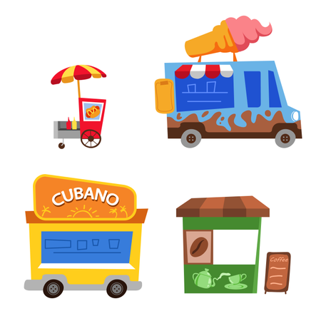 Various of street food stall childish cartoon illustration. Illustration