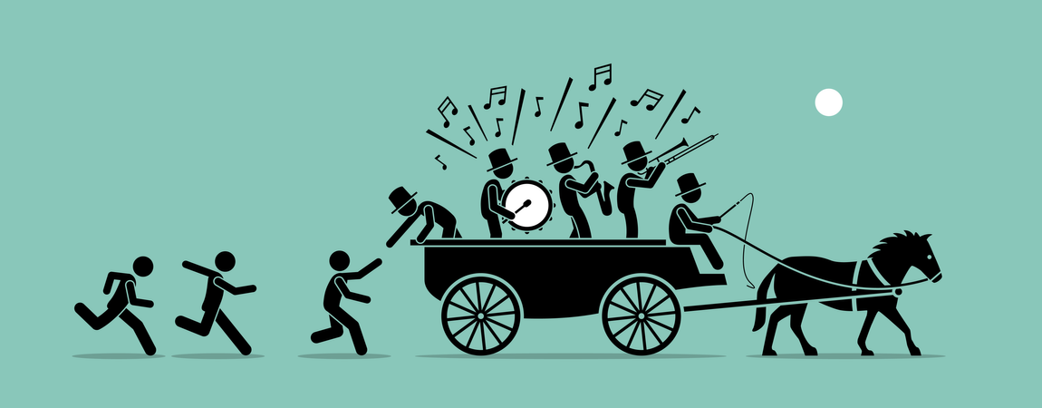 Vector artwork concept depicts people and followers chasing, joining, and jumping into a bandwagon because it is popular, famous, and trendy Illustration