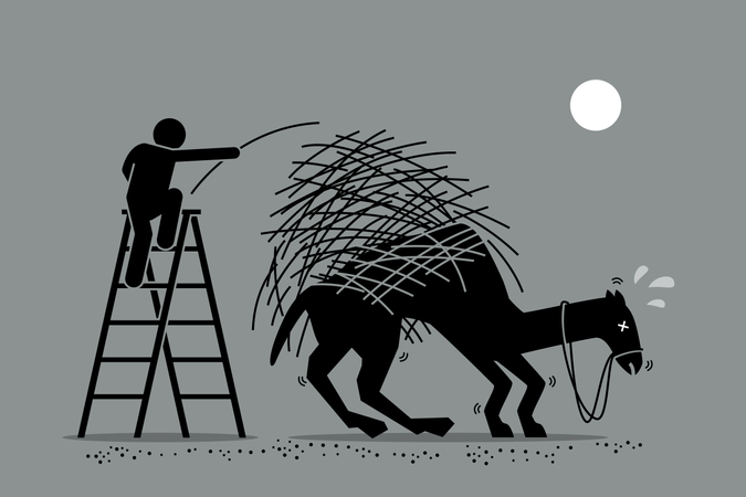 Vector artwork depicts a man putting one a straw to an already overburdened camel back. Concept depicts overworked, pressure, and final tolerable event. Illustration
