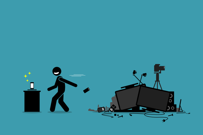 Vector artwork depicts a man throwing away old phone and other outdated devices to pursue newest technology and gadget Illustration