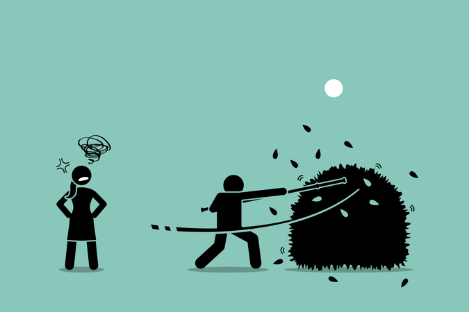 Vector artwork of a man using a stick to beat around the bushes while the woman gets annoyed by him for failing to be straight forward of what he actually wanted Illustration