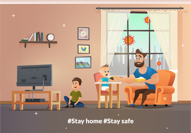 Vector Banner Illustration Stay Home and Stay Safe Illustration