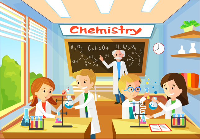 Vector Cartoon Background With Chemistry Classroom, and Character Students Illustration