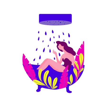 Vector illustration pretty girl Enjoying a bath in a fashion style bath tub Illustration