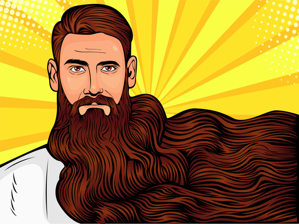 Vector pop art illustration of a brutal bearded man Illustration