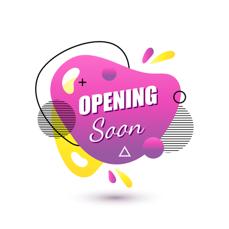 Vector social media tag opening soon Isolated object on a white background Illustration