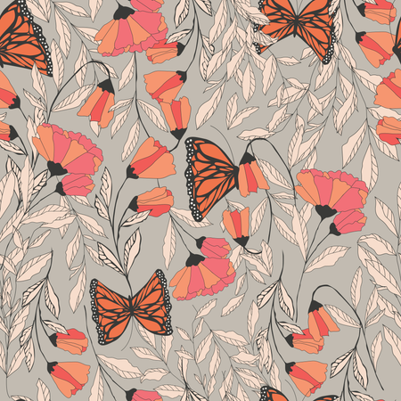 Vector traditional seamless pattern with Monarch butterflies, floral elements and spring flowers Illustration
