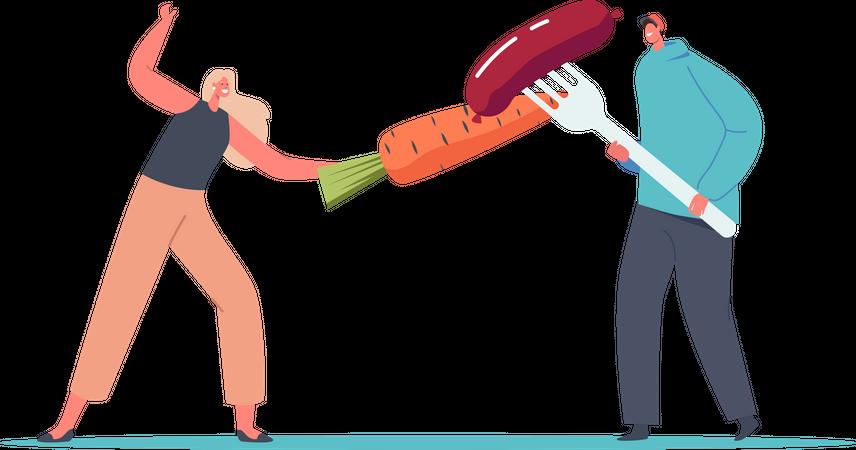 Vegan vs non-vegan Illustration