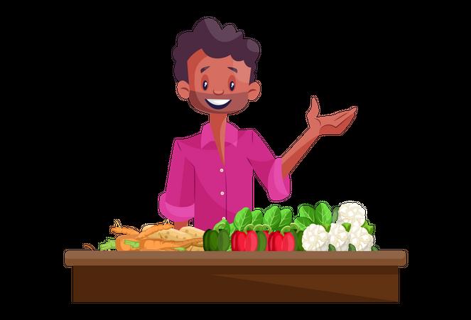 Vegetable seller Illustration