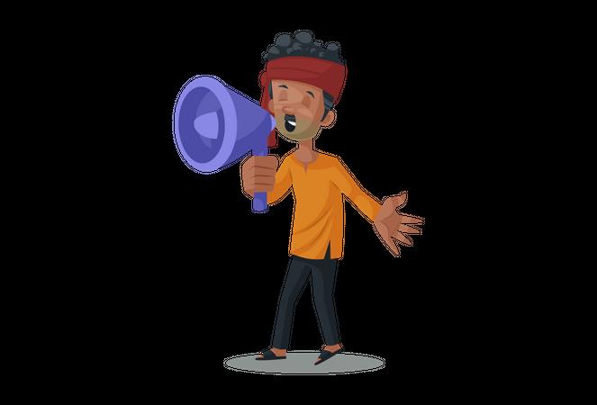 Vegetable seller holding megaphone in hand Illustration