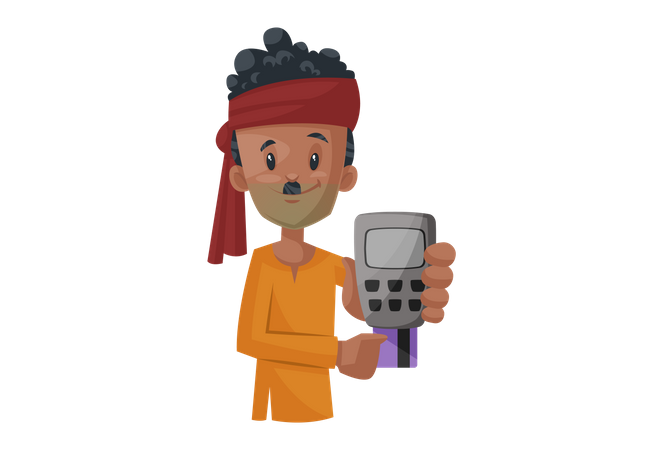 Vegetable seller is holding a swipe machine and ATM card in hand Illustration