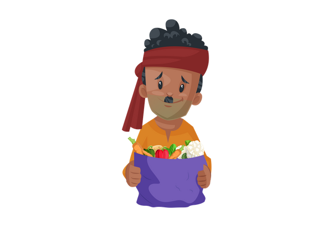Vegetable seller is holding the vegetable bag Illustration