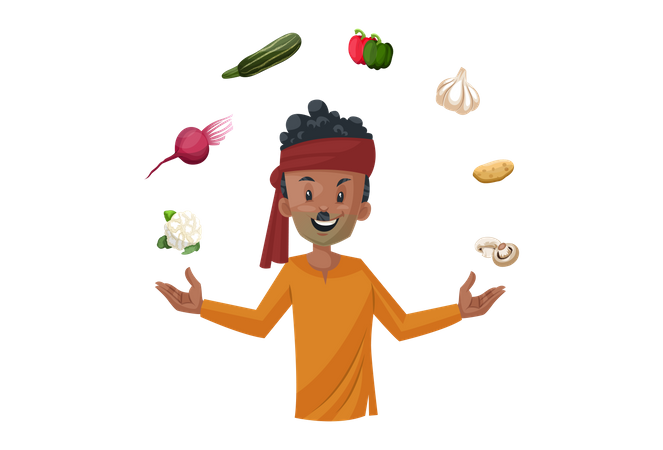 Vegetable seller is playing with vegetables Illustration