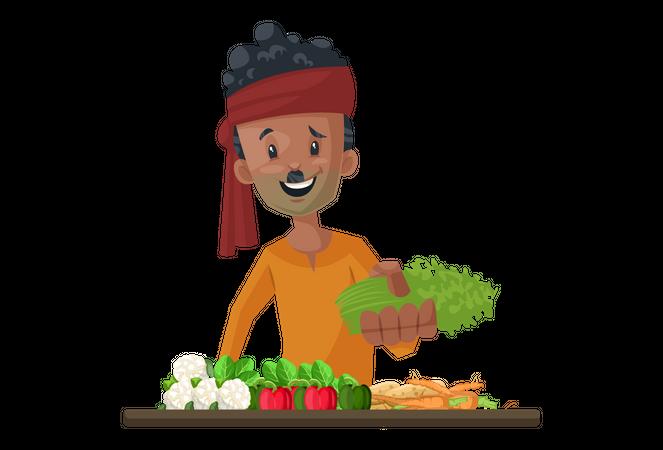 Vegetable seller is selling vegetables Illustration