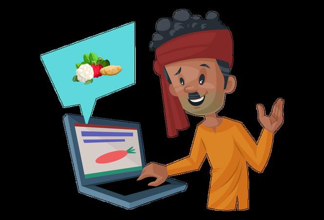 Vegetable seller is selling vegetables online Illustration