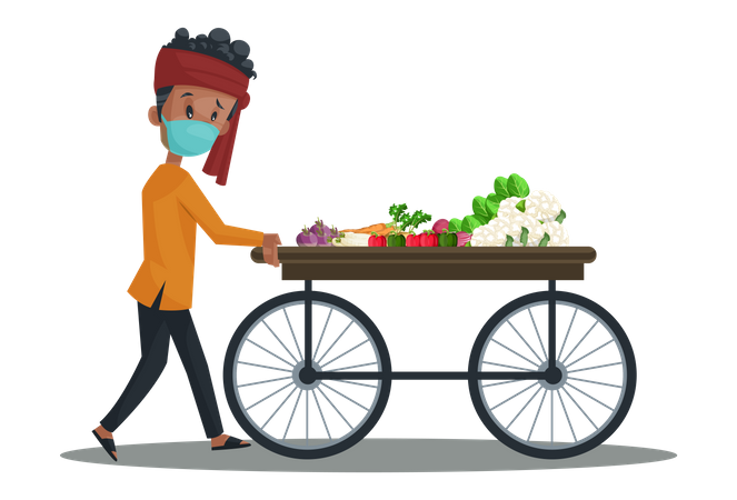 Vegetable seller is wearing mask and pushing the vegetable wooden cart Illustration