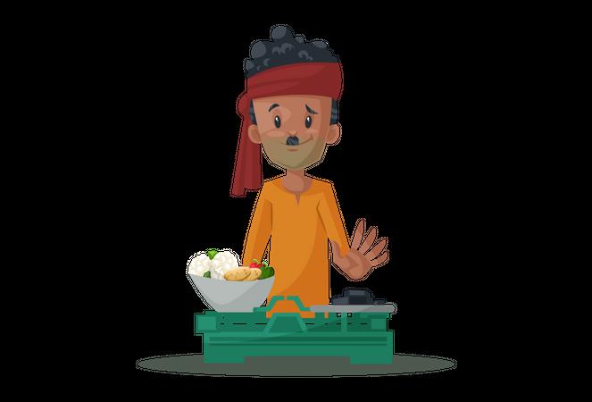 Vegetable seller is weighing vegetables Illustration