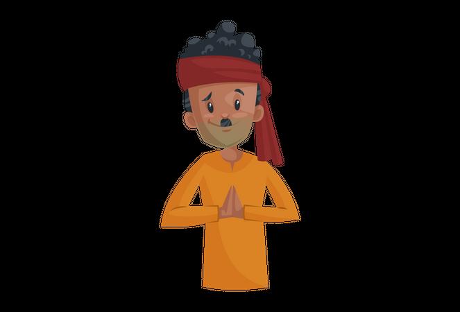 Vegetable seller with Namaste greet hand Illustration