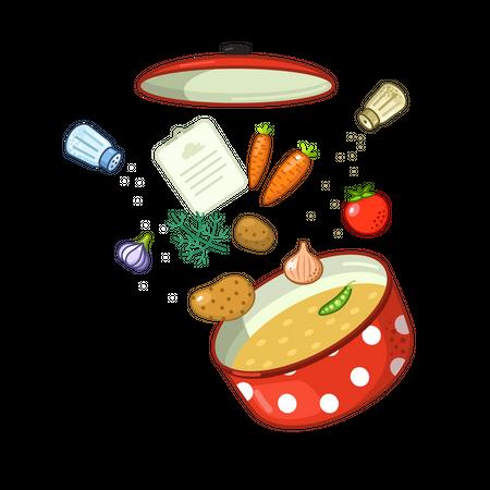 Vegetable soup Illustration