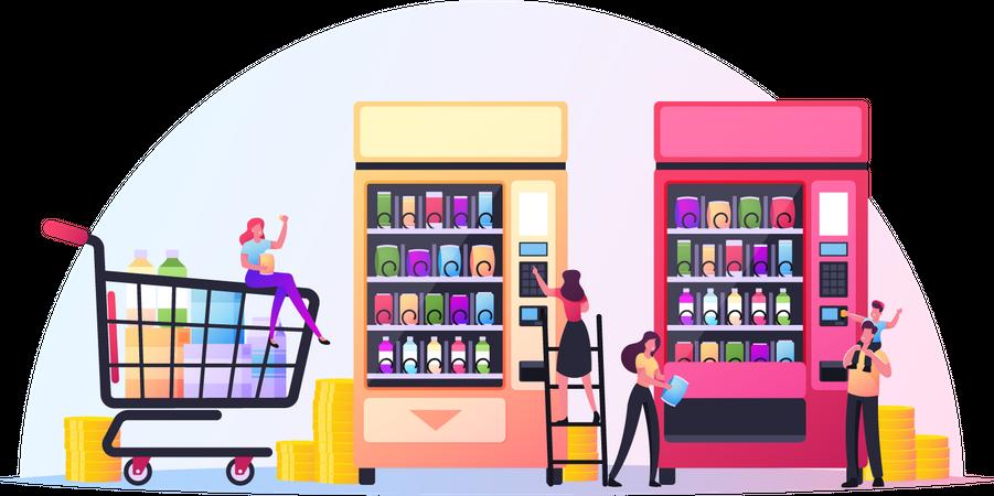 Vending Machine Food Illustration