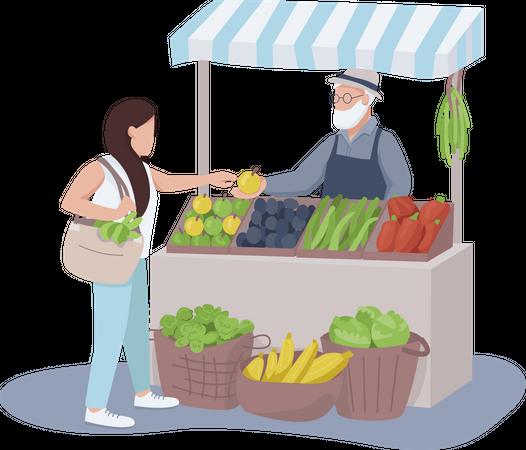 Vendor selling fruits and vegetables Illustration