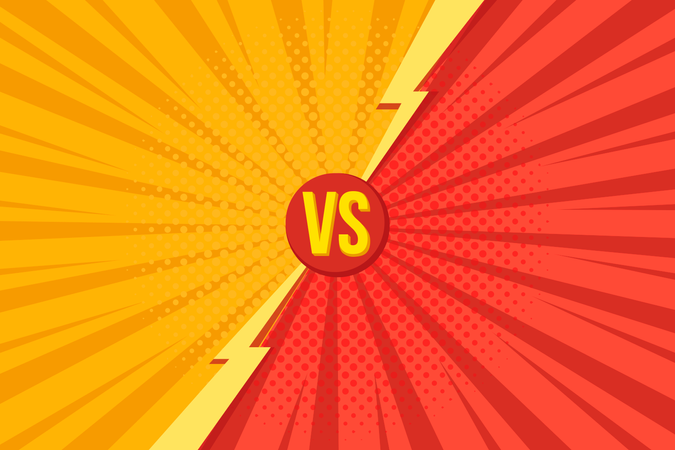 Versus VS letters fight backgrounds in pop art retro comics style with halftone Illustration