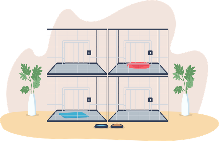 Veterinary cages Illustration