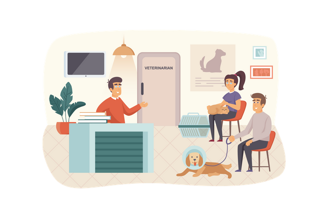 Veterinary clinic scene. Owners with pets waiting for their turn to see doctor. Woman with cat, man with dog. Veterinarian medicine concept. Vector illustration of people characters in flat design Illustration
