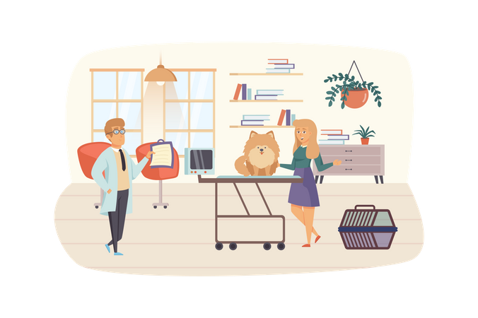 Veterinary clinic scene. Woman with dog visits vet, doctor examining puppy. Veterinarian medicine, pet care, healthcare, medical concept. Vector illustration of people characters in flat design Illustration