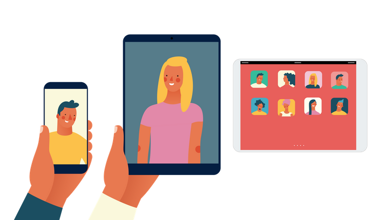 Video call between man and woman Illustration