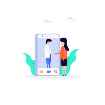 Video call through mobile application Illustration