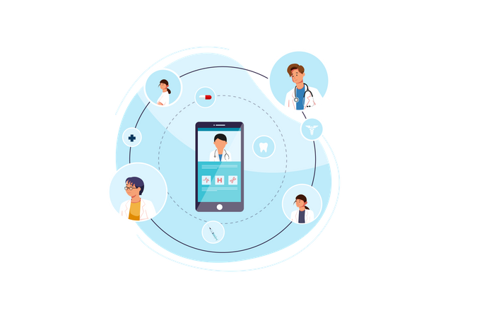 Video calling in medical team Illustration