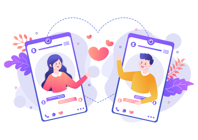 Video calling with loved ones Illustration