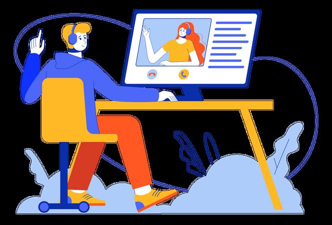 Video Chatting Illustration