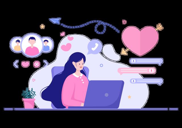 Video chatting on dating website Illustration
