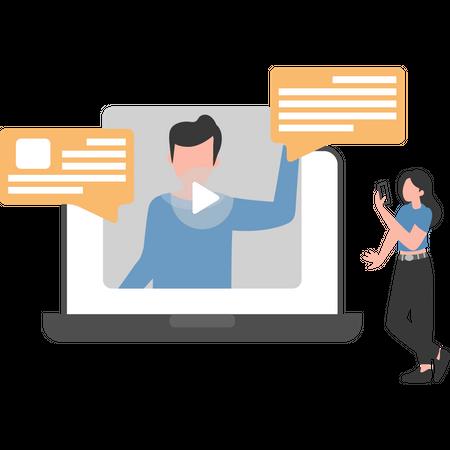 Video chatting on social apps Illustration