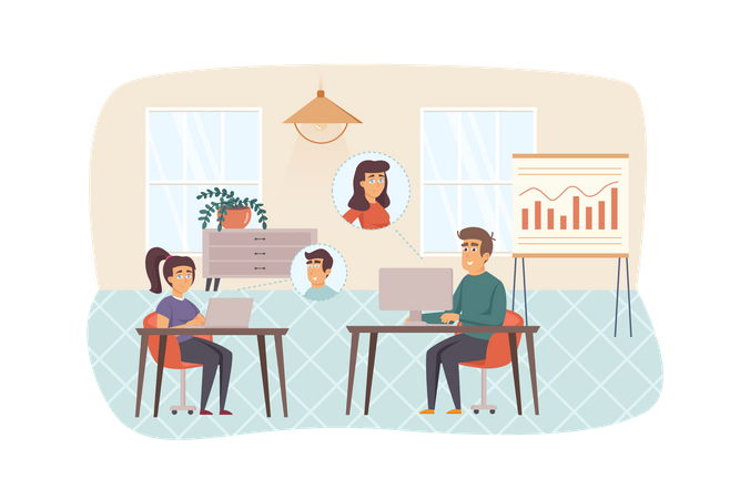 Video conference in office Illustration