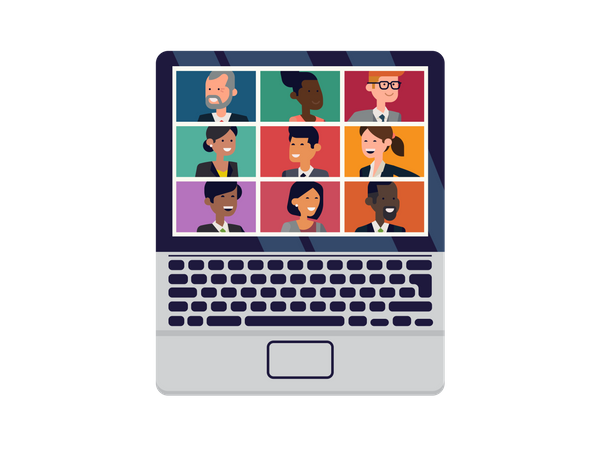 Video conference meeting Illustration