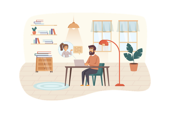 Video conferencing at home Illustration