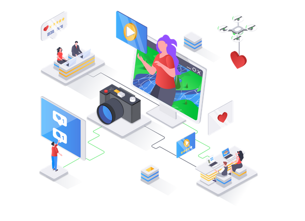 Video content production for social media Illustration