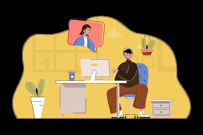 Video customer support Illustration