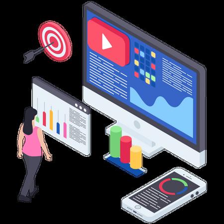 Video Marketing Analysis Illustration
