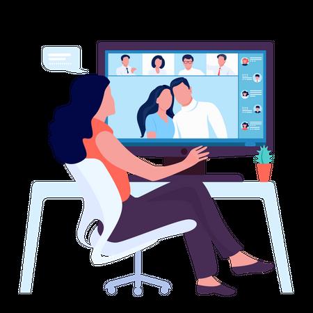 Video online conference Illustration