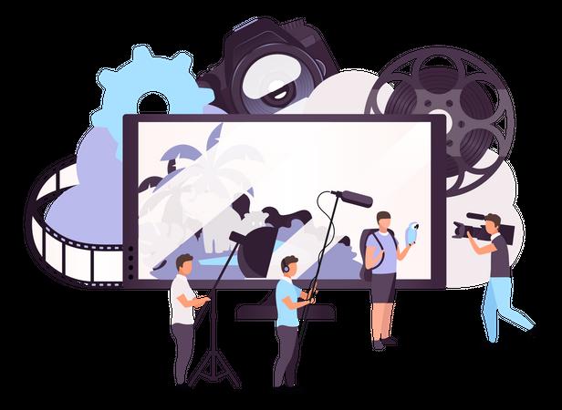 Video shooting by cameraman Illustration