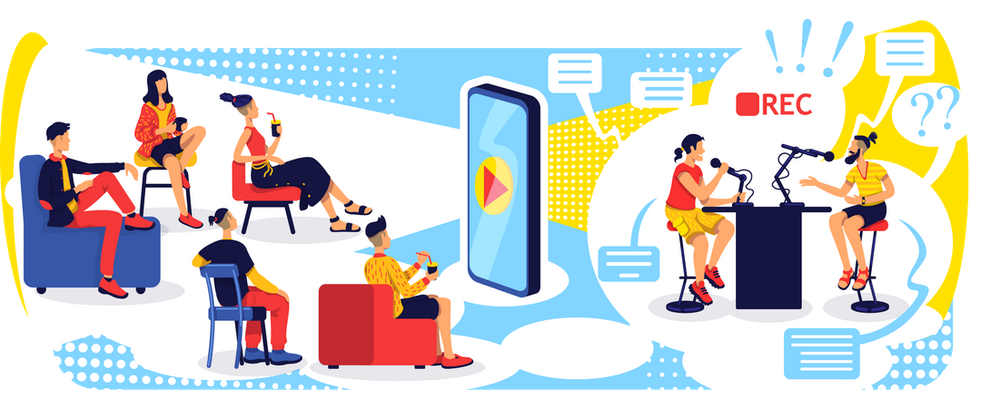 Video streaming with smartphone Illustration