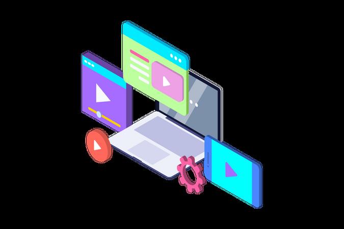 Video tutorial of streaming on different social platform Illustration