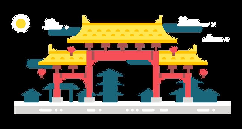 Village gate Illustration